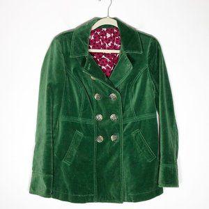 Boden Pea Coat Womens 10 Green Velvet